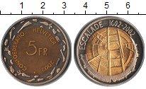 Изображение Монеты Швейцария 5 франков 2002 Биметалл UNC- Escalade 1602-2002