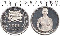 Изображение Монеты Дагомея 1000 франков 1971 Серебро Proof- Женщина Сомба