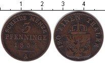 Изображение Монеты Пруссия 3 пфеннига 1854 Медь VF