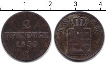 Изображение Монеты Саксония 2 пфеннига 1853 Медь VF