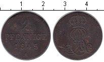 Изображение Монеты Ганновер 2 пфеннига 1845 Медь VF