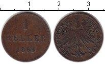 Изображение Монеты Франкфурт 1 хеллер 1853 Медь XF