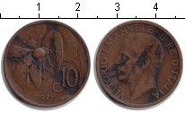 Изображение Монеты Италия 10 сентесим 1921 Медь VF Пчела. Витторио Эман