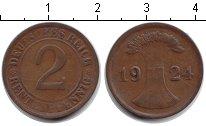 Изображение Монеты Веймарская республика 2 пфеннига 1924 Медь VF