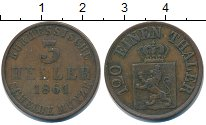 Изображение Монеты Гессен 3 хеллера 1861 Медь VF