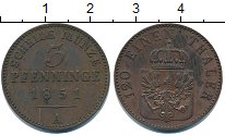 Изображение Монеты Пруссия 3 пфеннига 1851 Медь XF
