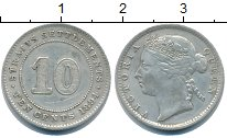 Изображение Монеты Стрейтс-Сеттльмент 10 центов 1894 Серебро XF Виктория.