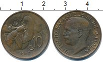 Изображение Монеты Италия 10 сентесим 1925 Медь XF Витторио Имануил III