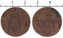 Изображение Монеты Пруссия 3 пфеннига 1845 Медь XF