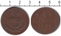 Изображение Монеты Саксония 4 пфеннига 1808 Медь VF