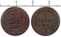 Изображение Монеты Саксен-Веймар-Эйзенах 1 пфенинг 1858 Медь XF