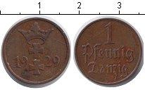Изображение Монеты Данциг 1 пфенниг 1929 Медь XF Вольный город Данциг