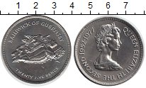Изображение Монеты Гернси 25 пенсов 1977 Медно-никель XF+ 25 летие коронации.