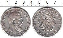 Изображение Монеты Пруссия 5 марок 1888 Серебро VF Фридрих.