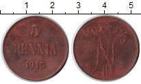 Изображение Монеты Финляндия 5 пенни 1913 Медь XF Николай I