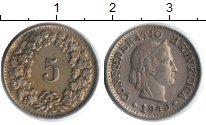 Изображение Монеты Швейцария 5 рапп 1949 Медно-никель XF