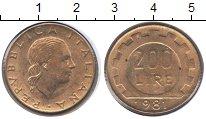Изображение Монеты Италия 200 лир 1981 Медь XF