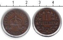 Изображение Монеты Немецкая Африка 1 геллер 1905 Медь VF J