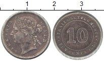 Изображение Монеты Стрейтс-Сеттльмент 10 центов 1894 Серебро XF