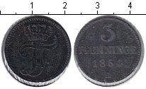 Изображение Монеты Мекленбург-Шверин 3 пфеннига 1854 Медь XF