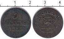 Изображение Монеты Германия Росток 3 пфеннига 1855 Медь VF