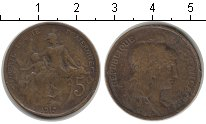 Изображение Монеты Франция 5 сантим 1917 Медь VF аллегорическое изобр