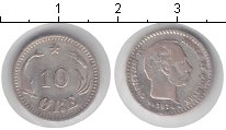 Изображение Монеты Дания 10 эре 1874 Серебро VF Кристиан IX