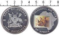 Изображение Монеты Уганда 1000 шиллингов 2001 Посеребрение Proof- Носорог