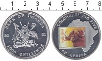 Изображение Монеты Уганда 1000 шиллингов 2001 Посеребрение Proof- Буйвол