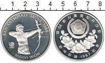 Изображение Монеты Южная Корея 10000 вон 1987 Серебро Proof Олимпиада Сеул 1988