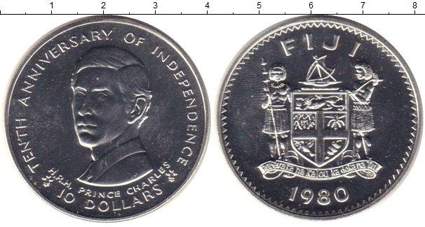 Картинка Монеты Фиджи 10 долларов Серебро 1980