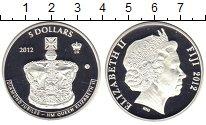 Изображение Монеты Фиджи 5 долларов 2012 Серебро Proof- Бриллиантовый юбилей