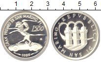 Изображение Монеты Сан-Марино 500 лир 1989 Серебро Proof Республика Сан-Марин