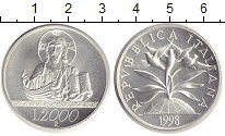 Изображение Монеты Италия 2000 лир 1998 Серебро Proof Христианский миллени