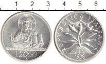 Изображение Монеты Италия 2000 лир 1998 Серебро Proof