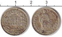 Изображение Монеты Швейцария 1/2 франка 1951 Серебро VF