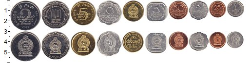Изображение Наборы монет Шри-Ланка Набор монет, 0  XF В наборе 10 монет но