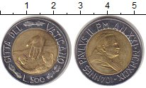 Изображение Монеты Ватикан 500 лир 1989 Биметалл XF