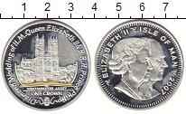 Изображение Монеты Остров Мэн 1 крона 2007 Серебро Proof- 60 лет Свадьбы Елиза