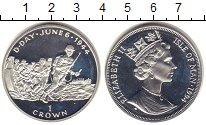 Изображение Монеты Остров Мэн 1 крона 1994 Серебро Proof- Норманди.06.06.1944.