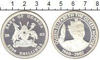 Изображение Монеты Уганда 2000 шиллингов 2003 Серебро Proof Королева-мать с прив