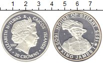 Изображение Монеты Теркc и Кайкос 20 крон 2001 Серебро Proof
