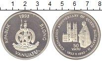 Изображение Монеты Вануату 50 вату 1993 Серебро Proof 50 лет коронации Ели