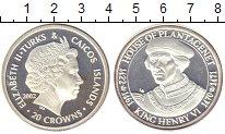Изображение Монеты Теркc и Кайкос 20 крон 2002 Серебро Proof