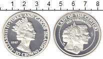 Изображение Монеты Теркc и Кайкос 20 крон 1997 Серебро Proof
