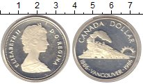 Изображение Монеты Канада 1 доллар 1986 Серебро Proof 100-летие Ванкувера.