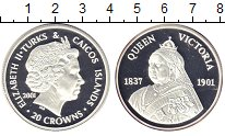 Изображение Монеты Теркc и Кайкос 20 крон 2001 Серебро