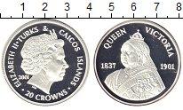 Изображение Монеты Теркc и Кайкос 20 крон 2001 Серебро Proof-