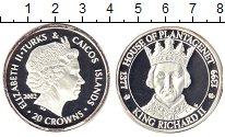 Изображение Монеты Теркc и Кайкос 20 крон 2002 Серебро Proof-