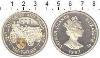 Изображение Монеты Каймановы острова 2 доллара 1997 Серебро Proof 50 лет Свадьбы Елиза